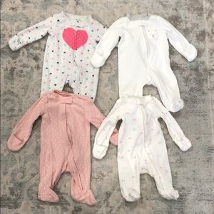 Lot of 4 Carter's Newborn Girl Footed Sleepers